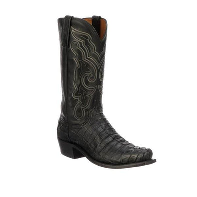 Men's Lucchese Franklin Crocodile Boots Handcrafted Black - yeehawcowboy