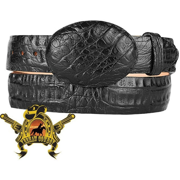 King Exotic Caiman Belly Belt With Removable Buckle Black - yeehawcowboy