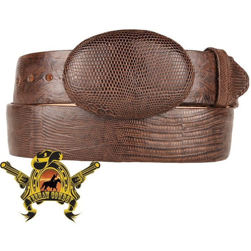 King Exotic Teju Lizard Belt With Removable Buckle Brown - yeehawcowboy