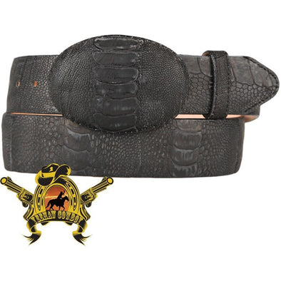 King Exotic Ostrich Leg Belt With Removable Buckle Matte Black - yeehawcowboy