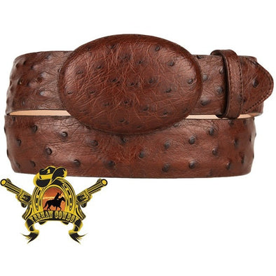 King Exotic Full Quill Ostrich Belt Removable Buckle Pure Brown - yeehawcowboy