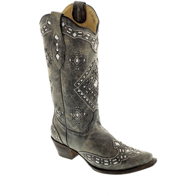 Women's Corral Western Boots Black Silver Inlay Handcrafted - yeehawcowboy