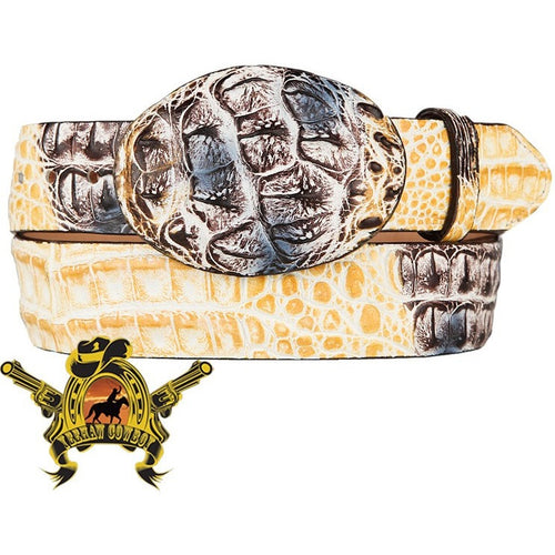 King Exotic Caiman Hornback Belt With Removable Buckle Natural - yeehawcowboy