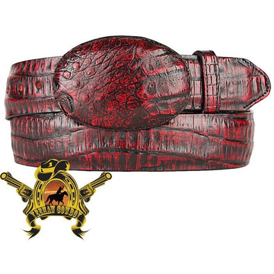 King Exotic Caiman Belly Belt With Removable Buckle Black Cherry - yeehawcowboy