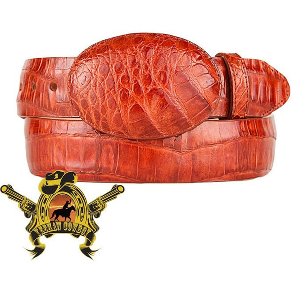King Exotic Caiman Belly Belt With Removable Buckle Cognac - yeehawcowboy