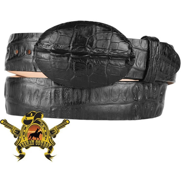 King Exotic Caiman Belt With Removable Buckle Black - yeehawcowboy