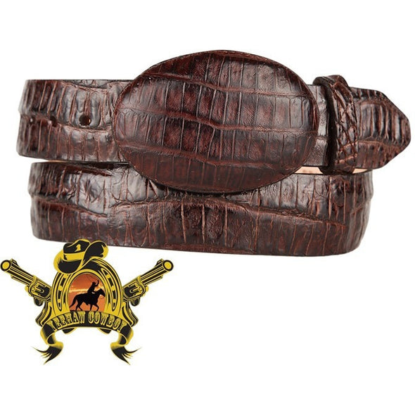 King Exotic Caiman Belly Belt With Removable Buckle Brown - yeehawcowboy