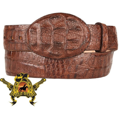 King Exotic Caiman Hornback Belt With Removable Buckle Brown - yeehawcowboy