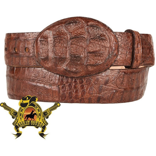 King Exotic Caiman Hornback Belt With Removable Buckle Brown