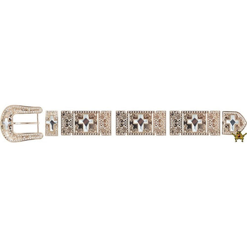 Western Buckle Set Gold Plated With White Stone Crosses