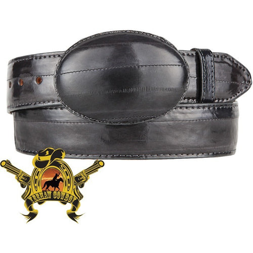 King Exotic Eel Belt With Removable Buckle Gray