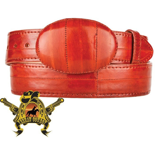 King Exotic Eel Belt With Removable Buckle Cognac - yeehawcowboy