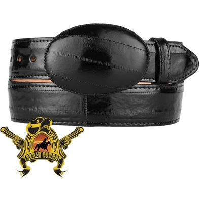 King Exotic Eel Belt With Removable Buckle Black - yeehawcowboy