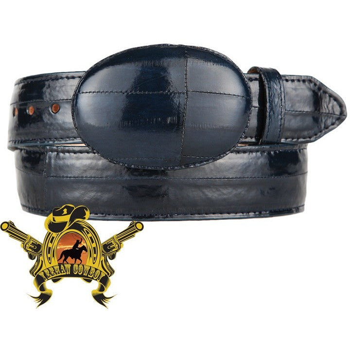 King Exotic Eel Belt With Removable Buckle Navy Blue - yeehawcowboy