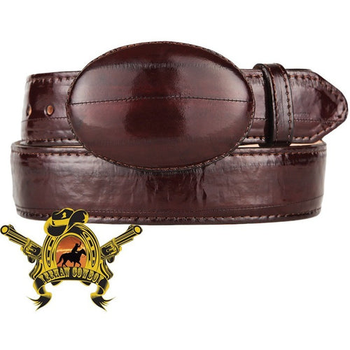 King Exotic Eel Belt With Removable Buckle Brown - yeehawcowboy