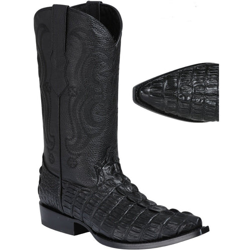 Men's El General Caiman Tail Print Boots Snip Toe Handcrafted - yeehawcowboy
