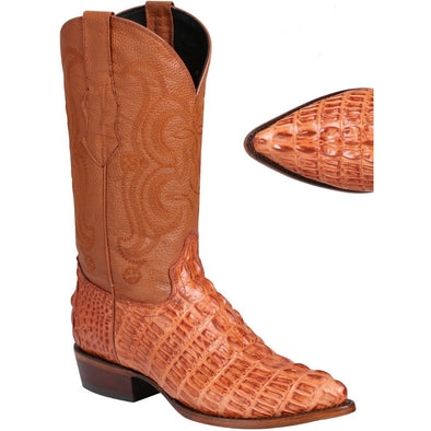 Men's El General Caiman Tail Print Boots J Toe Handcrafted - yeehawcowboy