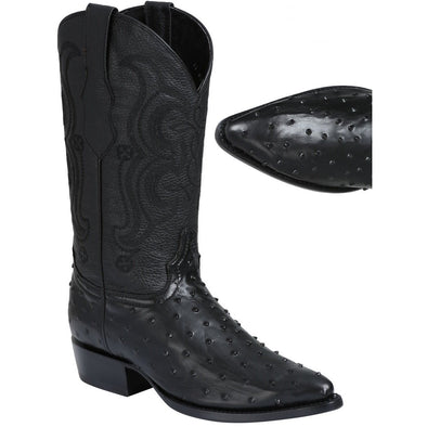 Men's El General Full Quill Ostrich Print Boots J Toe Handcrafted - yeehawcowboy