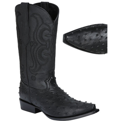 Men's El General Full Quill Ostrich Print Boots Snip Toe Handcrafted - yeehawcowboy
