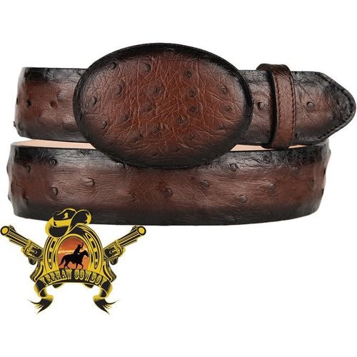 King Exotic Full Quill Ostrich Belt Removable Buckle Brown