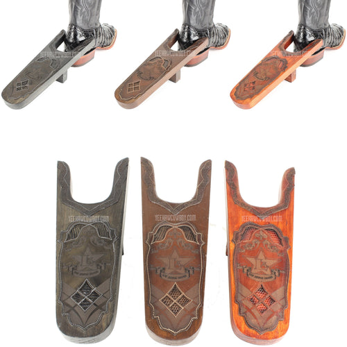 Los Altos Wooden Boot Jack Handmade With Leather & Lizard Skin - yeehawcowboy