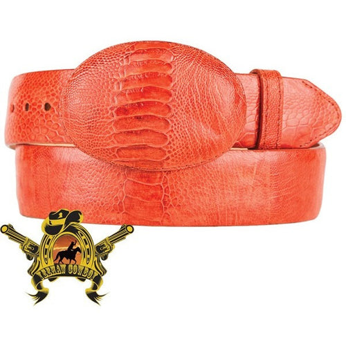 King Exotic Ostrich Leg Belt With Removable Buckle Cognac - yeehawcowboy