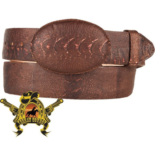 King Exotic Ostrich Leg Belt With Removable Buckle Matte Brown - yeehawcowboy