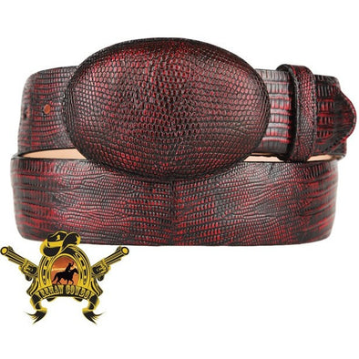 King Exotic Teju Lizard Belt With Removable Buckle Black Cherry - yeehawcowboy