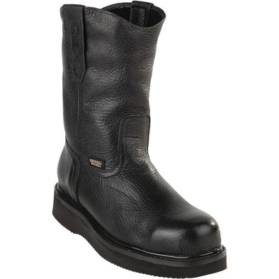 Original Michel Boots-Men's Pull On Work Boot Black Steel Toe - yeehawcowboy