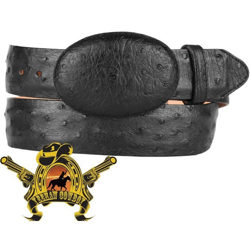 King Exotic Full Quill Ostrich Belt Removable Buckle Black - yeehawcowboy