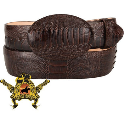 King Exotic Ostrich Leg Belt With Removable Buckle Brown - yeehawcowboy