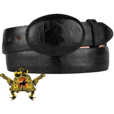 King Exotic Ostrich Leg Belt With Removable Buckle Black - yeehawcowboy