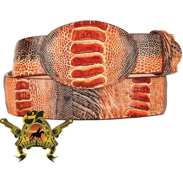 King Exotic Ostrich Leg Belt With Removable Buckle Rustic Cognac - yeehawcowboy