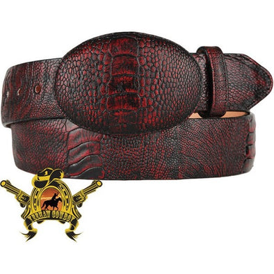 King Exotic Ostrich Leg Belt With Removable Buckle Black Cherry - yeehawcowboy