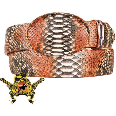 King Exotic Python Belt With Removable Buckle Rustic Cognac - yeehawcowboy
