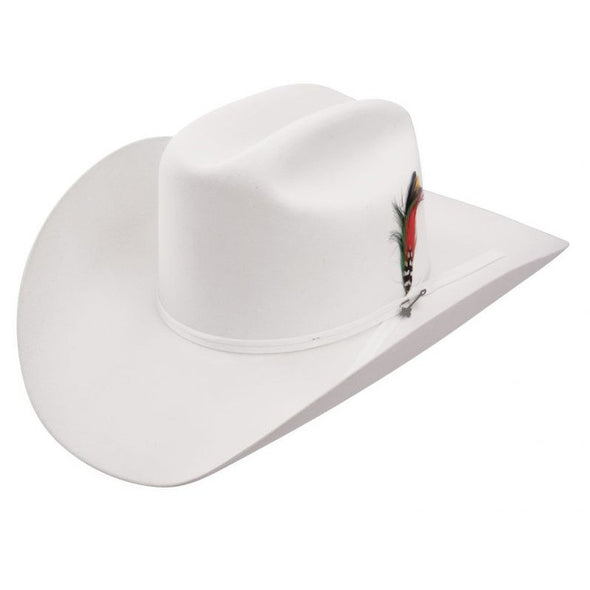 6x Stetson Rancher Fur Felt Hat White With Feather - yeehawcowboy