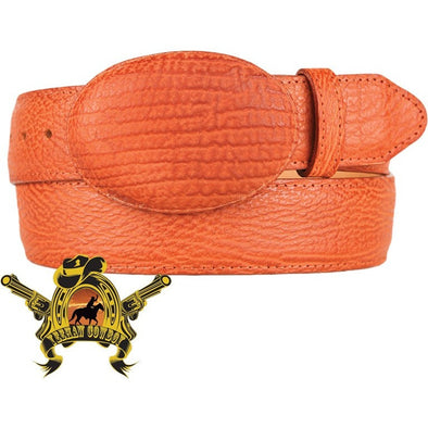 King Exotic Sharkskin Belt With Removable Buckle Cognac - yeehawcowboy