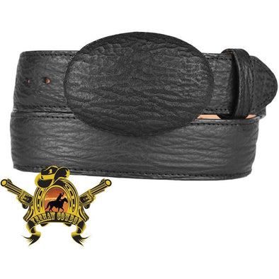 King Exotic Sharkskin Belt With Removable Buckle Black - yeehawcowboy