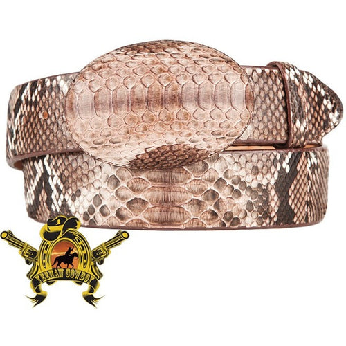King Exotic Python Belt With Removable Buckle Rustic Brown - yeehawcowboy