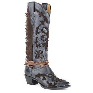 Women's Stetson Ande Knee High Boots Snip Toe Handcrafted - yeehawcowboy