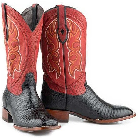 Men's Stetson Arlington Teju Lizard Boots Square Toe Handcrafted - yeehawcowboy