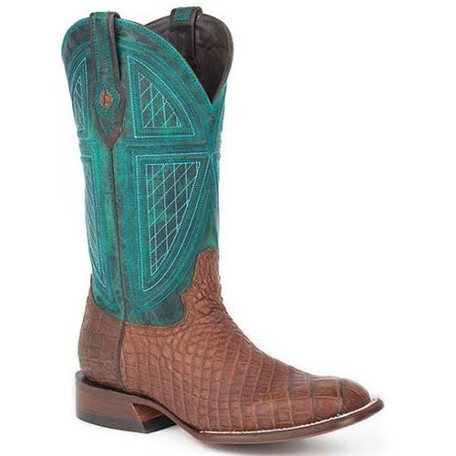 Men's Stetson Big Horn Alligator Boots Square Toe Handcrafted - yeehawcowboy