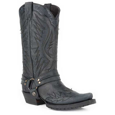 Men's Stetson Biker Outlaw Eagle Boots Square Rocker Toe Handcrafted Black - yeehawcowboy