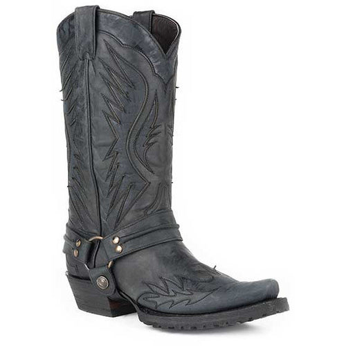 Men's Stetson Biker Outlaw Eagle Boots Square Rocker Toe Handcrafted - yeehawcowboy