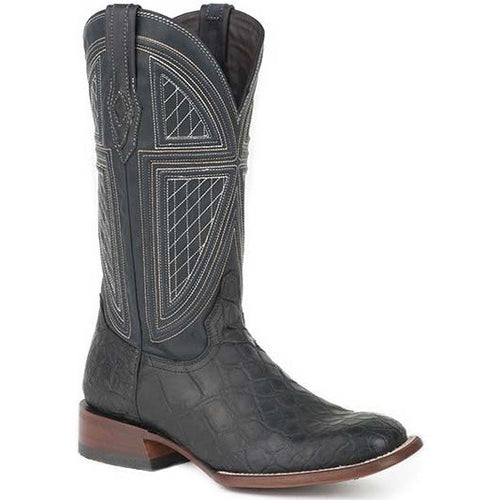 Men's Stetson Black Falls Alligator Boots Square Toe Handcrafted - yeehawcowboy