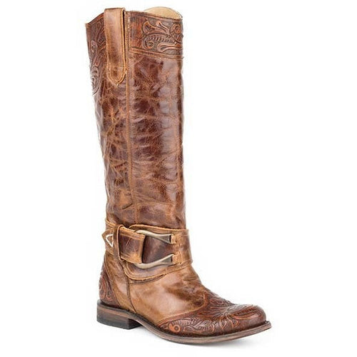 Women's Stetson Paisley Knee High Boots Round Toe Handcrafted - yeehawcowboy