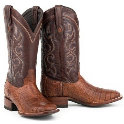 Men's Stetson Branson Caiman Belly Boots Square Toe Handcrafted - yeehawcowboy