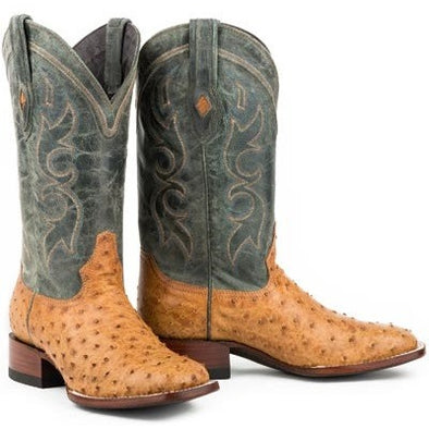 Men's Stetson Cheyenne Ostrich Boots Square Toe Handcrafted JBS Collection - yeehawcowboy