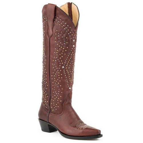 Women's Stetson Crystal Knee High Boots Snip Toe Handcrafted - yeehawcowboy