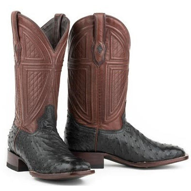 Men's Stetson Dillon Ostrich Boots Square Toe Handcrafted JBS Collection - yeehawcowboy